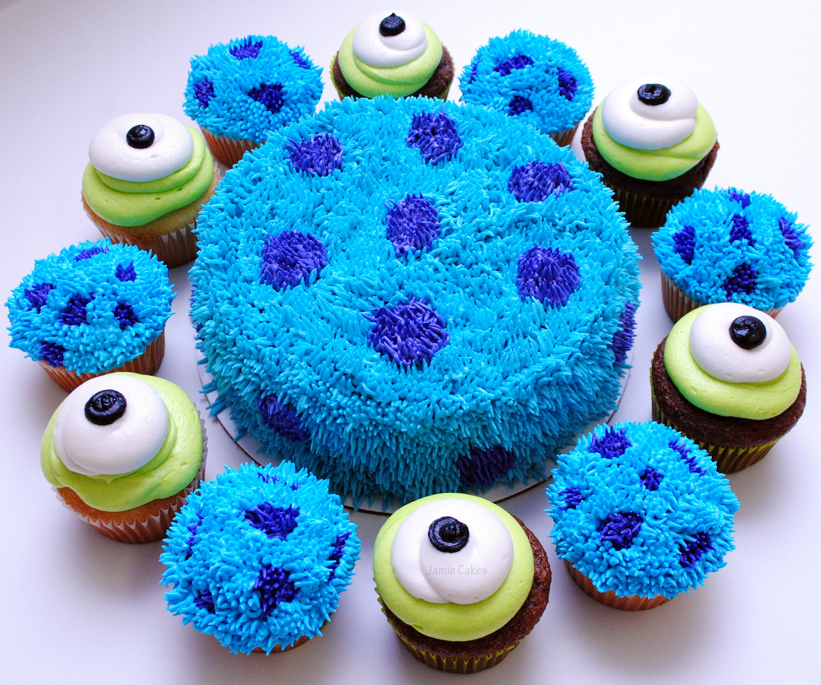 Fantastic Monsters Inc Cake And Cupcakes Jamie Cakes Personalised Birthday Cards Epsylily Jamesorg